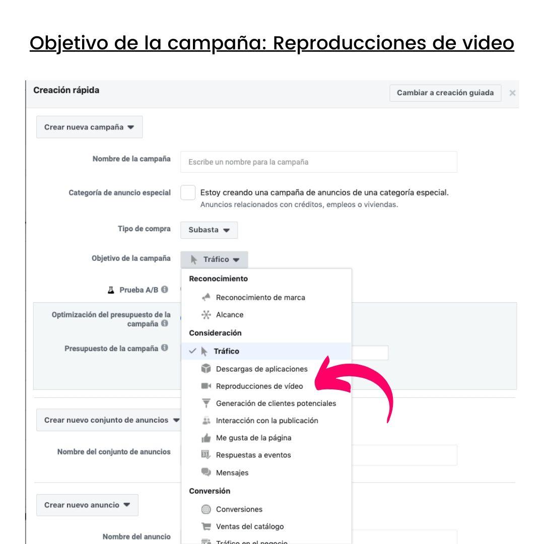 creacion objetivo de campaña de publicidad con reproducciones de video